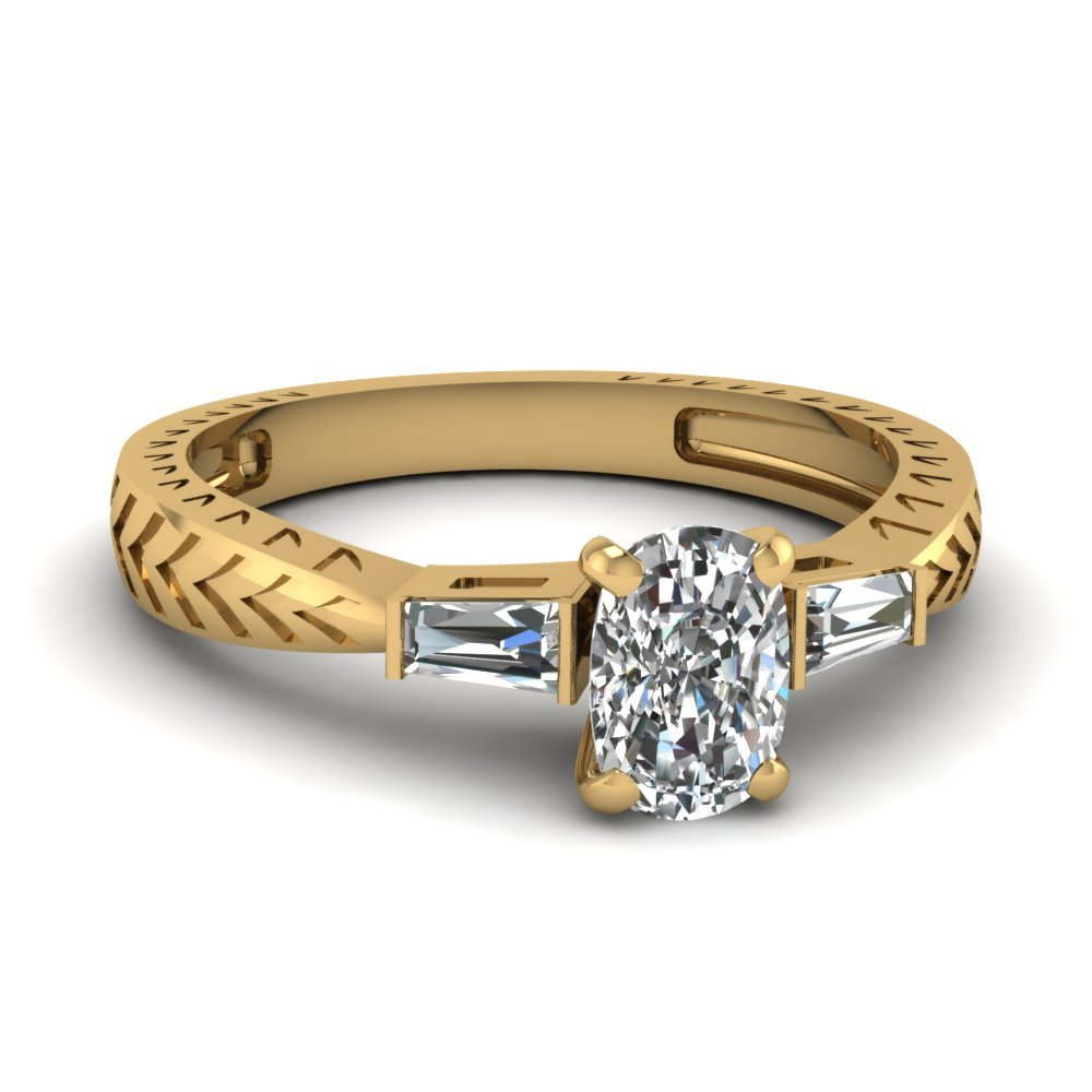 Tapered Vintage 3 Stone Cushion Engagement Ring In 14K Yellow Gold