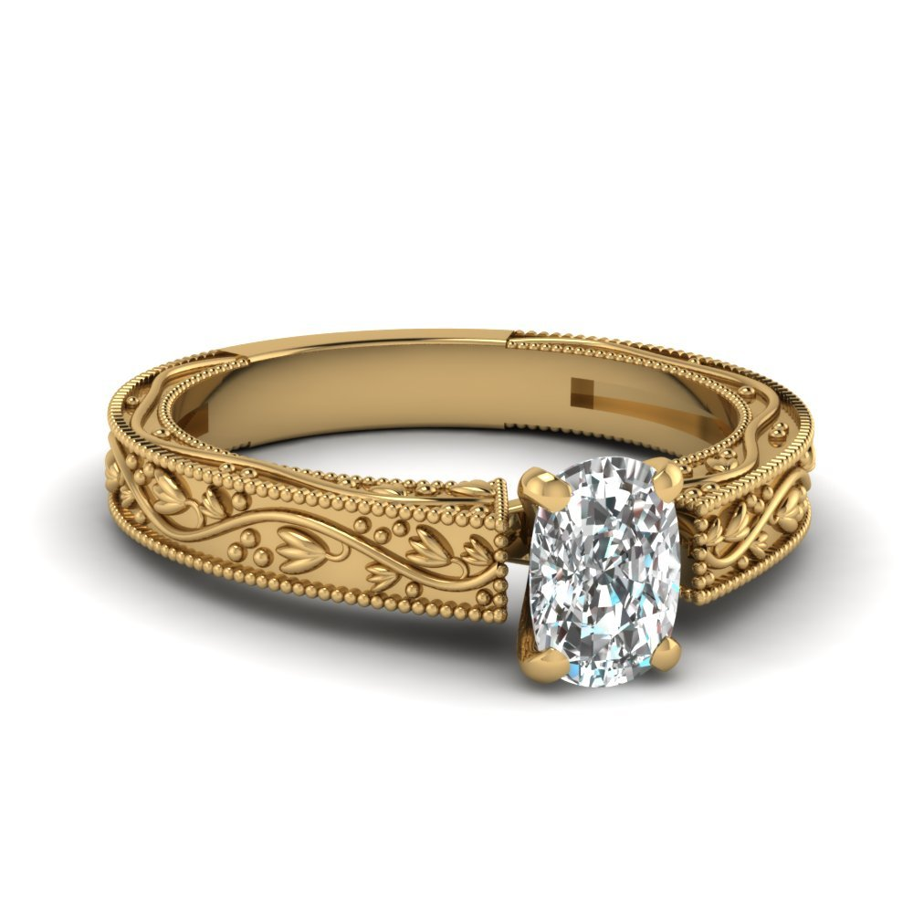Floral Engraved Cushion Cut Diamond Solitaire Engagement Ring In 14K Yellow Gold