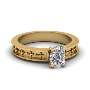 Cross Engraved Cushion Cut Solitaire Engagement Ring In 14K Yellow Gold
