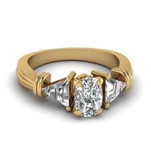 Trillion 3 Stone Cushion Diamond Engagement Ring In 14K Yellow Gold