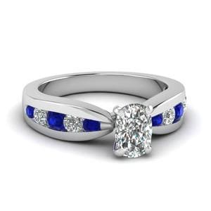 Tapered Channel Set Cushion Diamond Engagement Ring With Sapphire In 14K White Gold