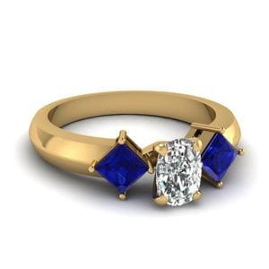 Kite Set 3 Stone Cushion Cut Engagement Ring With Sapphire In 14K Yellow Gold