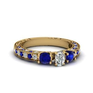 Vintage Style 3 Stone Cushion Diamond Engagement Ring With Sapphire In 14K Yellow Gold