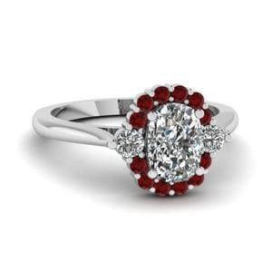 Ruby Halo Cushion Diamond Ring