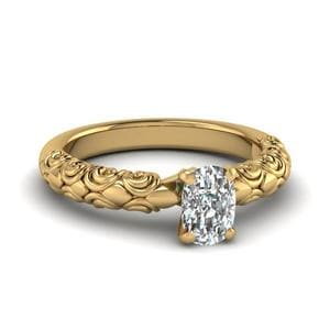 Cushion Cut Diamond Filigree Accent Solitaire Engagement Ring In 14K Yellow Gold