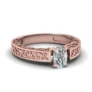 Filigree Engraved Cushion Cut Solitaire Engagement Ring In 14K Rose Gold