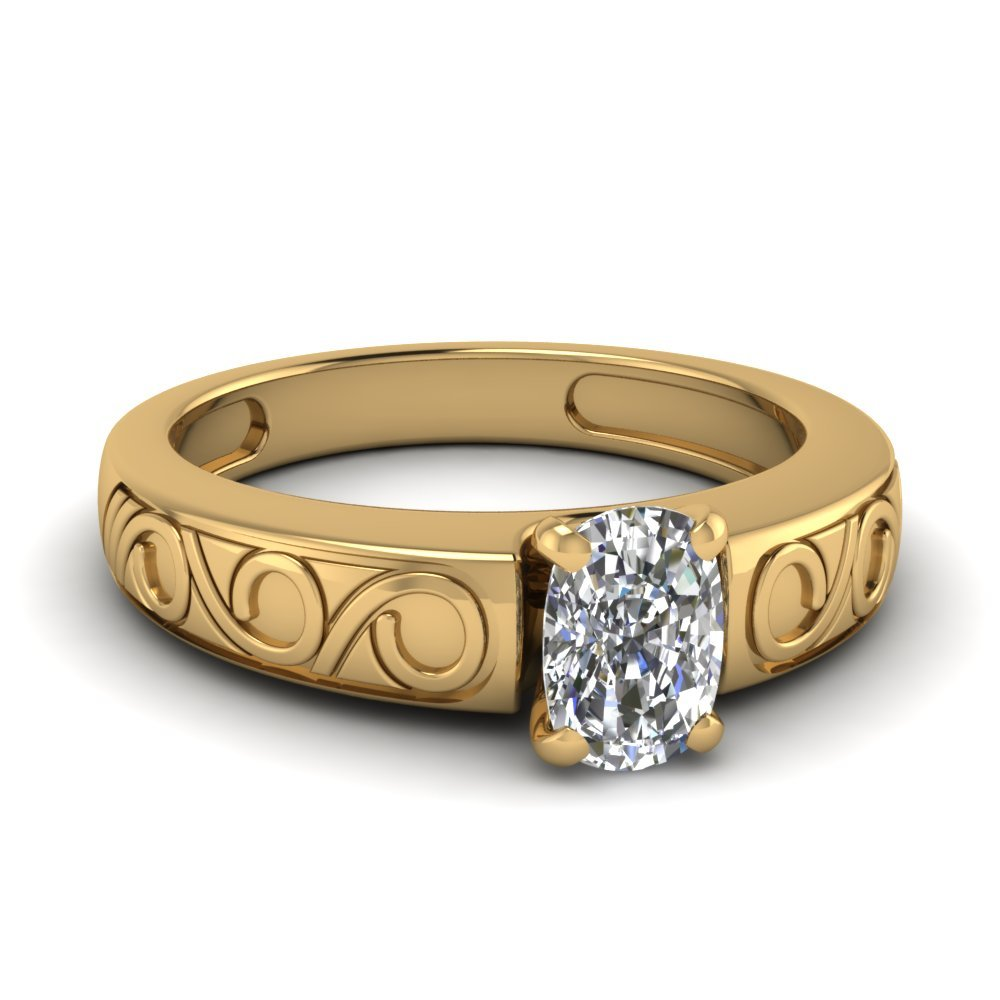 Cushion Cut Filigree Solitaire Ring In 14K Yellow Gold