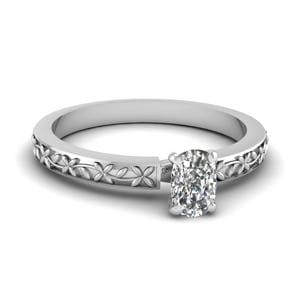 Floral Engraved Cushion Diamond Solitaire Ring In 14K White Gold