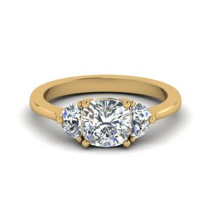 Cushion Cut Half Moon 3 Stone Engagement Ring In 14K Yellow Gold
