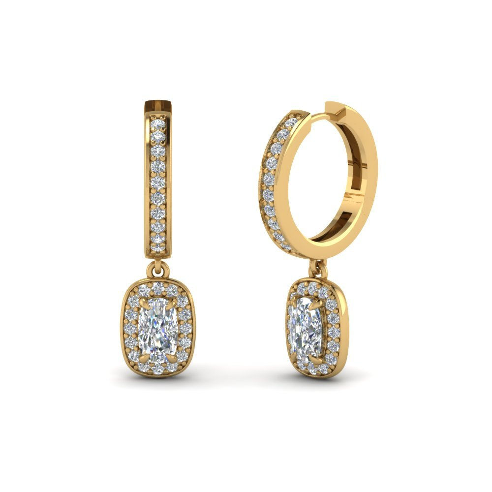 Cushion Diamond Halo Hoop Earrings