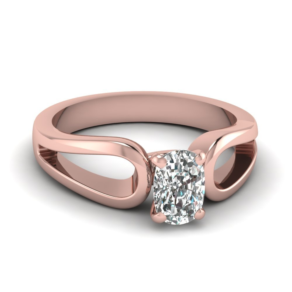Cushion Cut Diamond Loop Duet Soltaire Ring In 14K Rose Gold