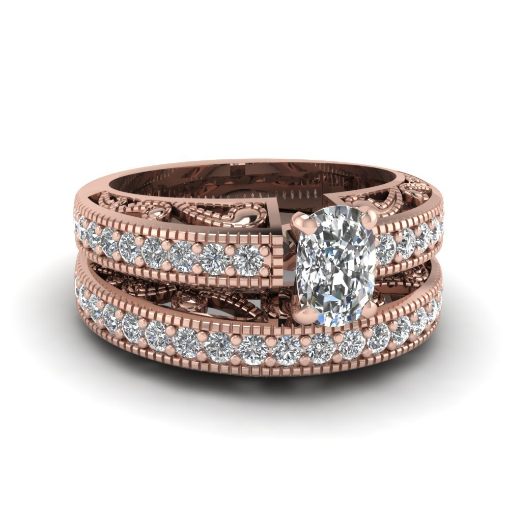 Cushion Cut Diamond Milgrain Paisley Wedding Set In 18K Rose Gold