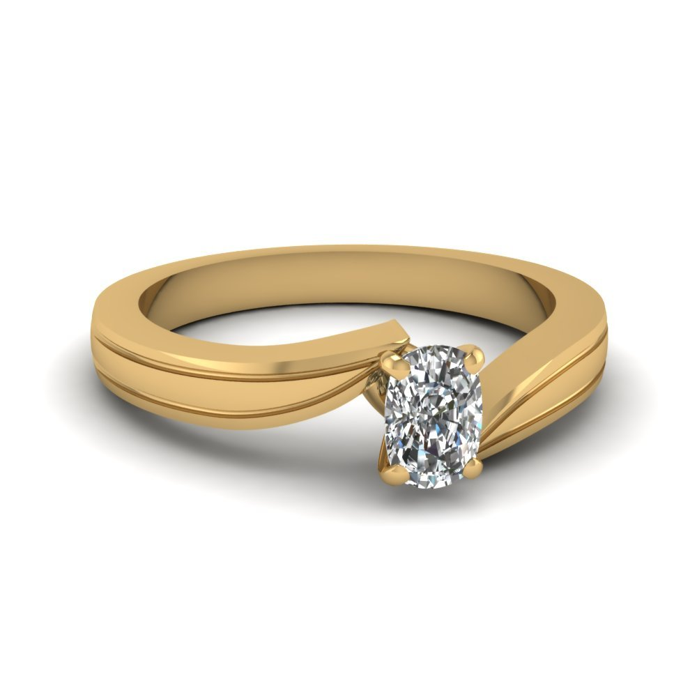 Cushion Cut Diamond Twisted Solitaire Engagement Ring In 14K Yellow Gold