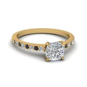 Cushion Cut Petite Ring With Black Diamond In 14K Yellow Gold