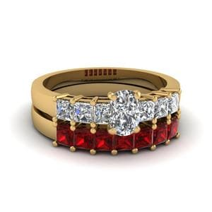 Princess Cut With Ruby Bridal Set