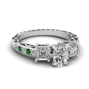 Cushion Cut Vintage 3 Stone Diamond Engagement Ring With Emerald In 14K White Gold
