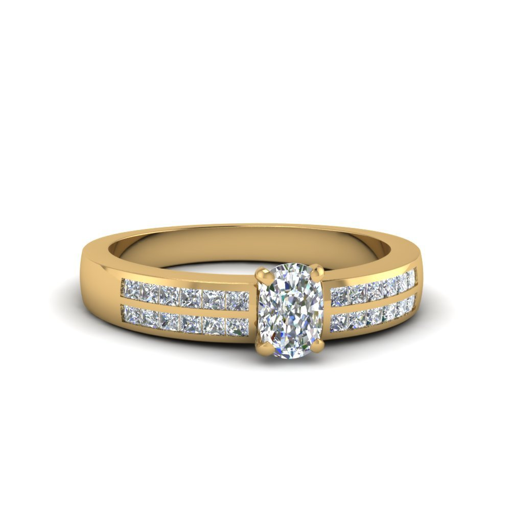 Cushion Cut Double Row Channel Diamond Wide Ring In 14K Yellow Gold