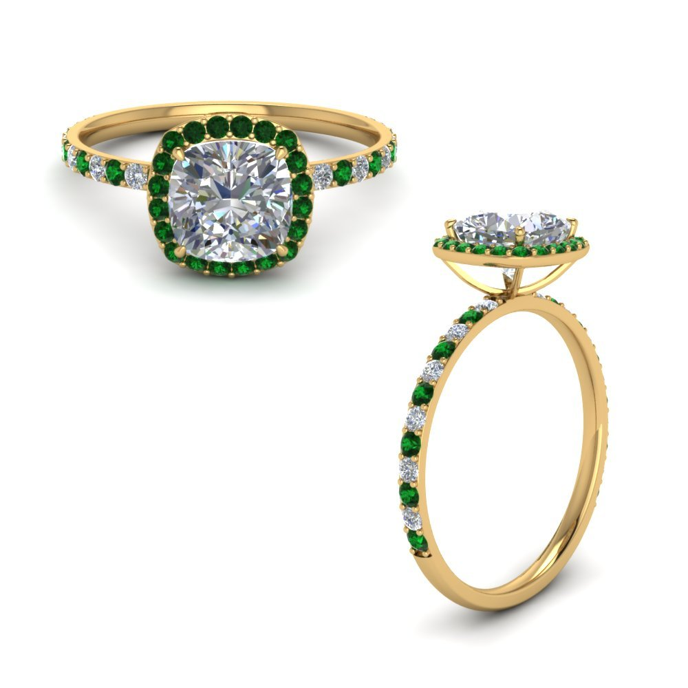 Emerald Halo Diamond Petite Ring