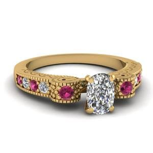 Engraved Antique Pave Cushion Cut Diamond Engagement Ring With Pink Sapphire In 14K Yellow Gold