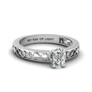 Cushion Cut Engraved Solitaire Diamond Ring