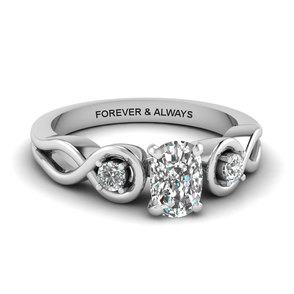 Cushion Cut Engraved Three Stone Diamond Engagement Ring In 14K White Gold