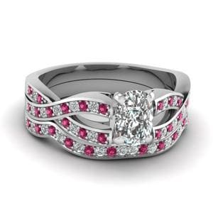 Cushion Cut Entwined Pave Diamond Bridal Set With Pink Sapphire In 14K White Gold