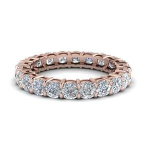 3.50 Ct. Cushion Cut Eternity Diamond Band In 18K Rose Gold