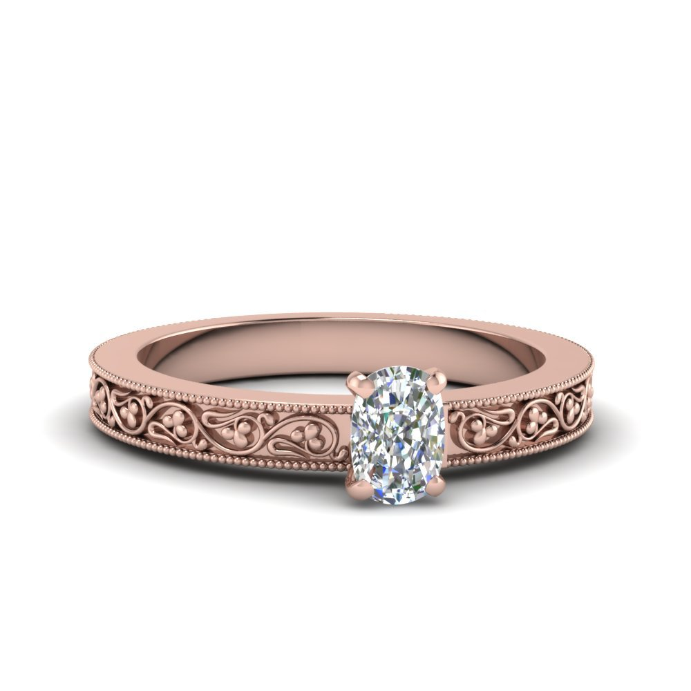 Cushion Cut Filigree Solitaire Ring