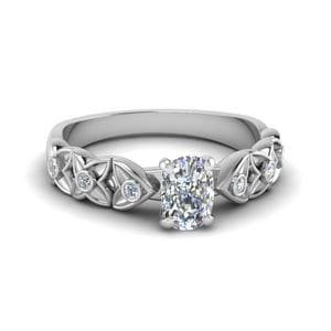 Cushion Cut Floral Style Accent Diamond Engagement Ring In 14K White Gold