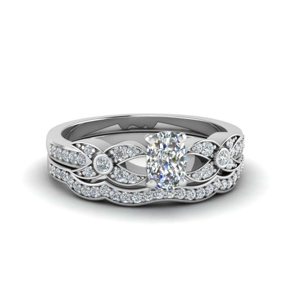 Cushion Cut White Gold Wedding Set