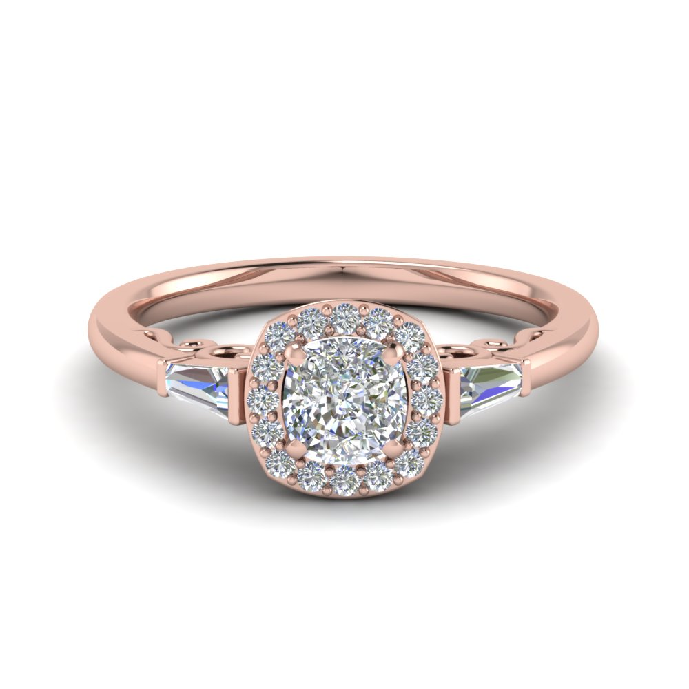 Cushion Cut Halo Diamond Engagement Ring And Baguette In 14K Rose Gold