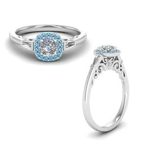 Blue Topaz Halo Ring With Baguette