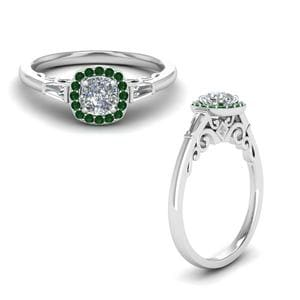 Emerald Halo Baguette Diamond Ring