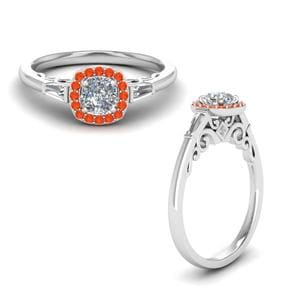 Orange Topaz Halo Ring With Baguette