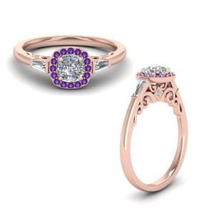 Baguette Halo Ring With Purple Topaz