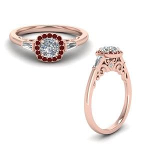 Ruby Halo Diamond Ring With Baguette