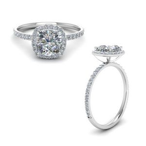 Cushion Cut Halo Petite Diamond Engagement Ring In 14K White Gold