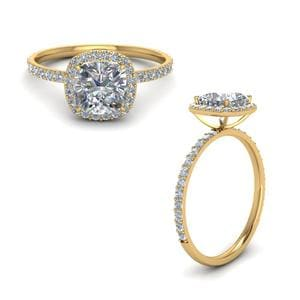 Cushion Cut Halo Petite Diamond Engagement Ring In 18K Yellow Gold