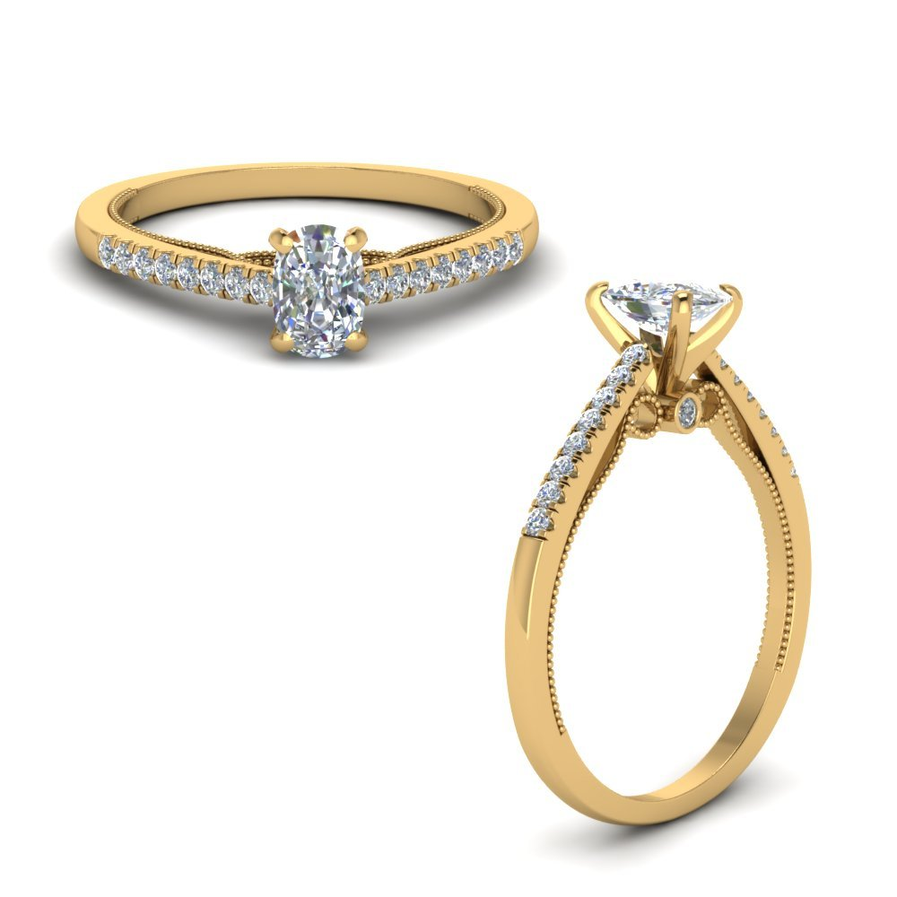 Cushion Cut High Set Milgrain Diamond Engagement Ring In 18K Yellow Gold