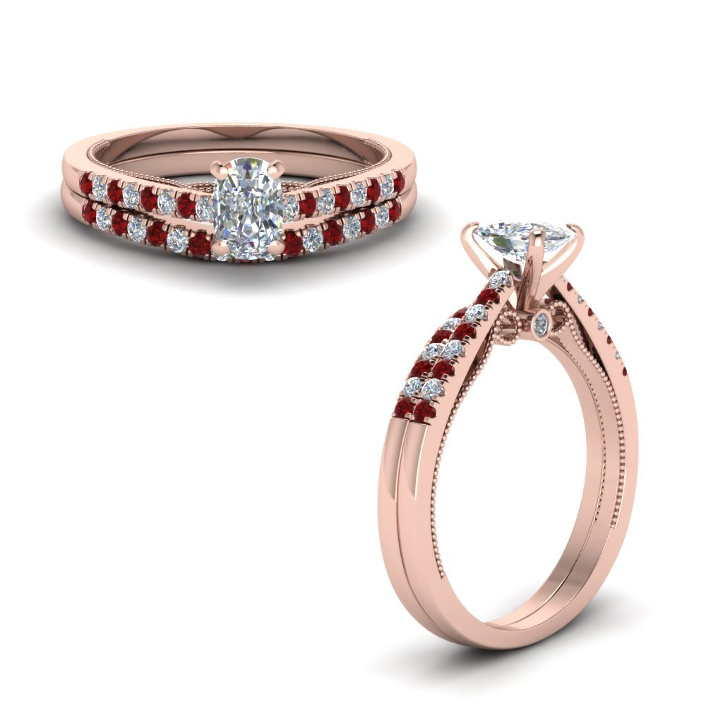Milgrain Wedding Ring Set With Ruby