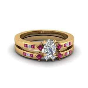 Pink Sapphire Kite Wedding Ring Set