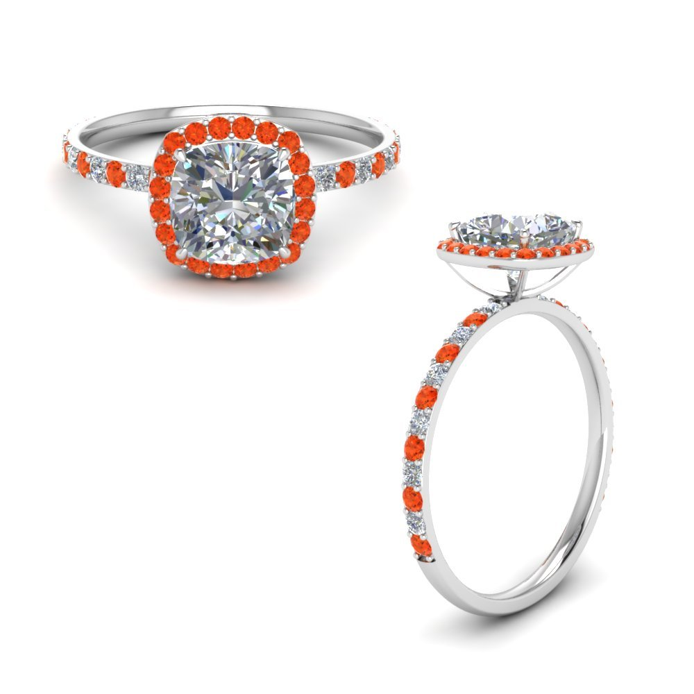 Platinum Orange Topaz Ring