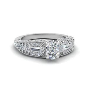 Cushion Cut Victorian Vintage Style Diamond Engagement Ring In 14K White Gold