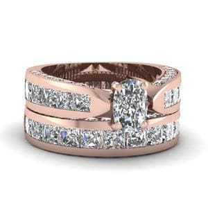 Pave And Princess Channel Bridal Set