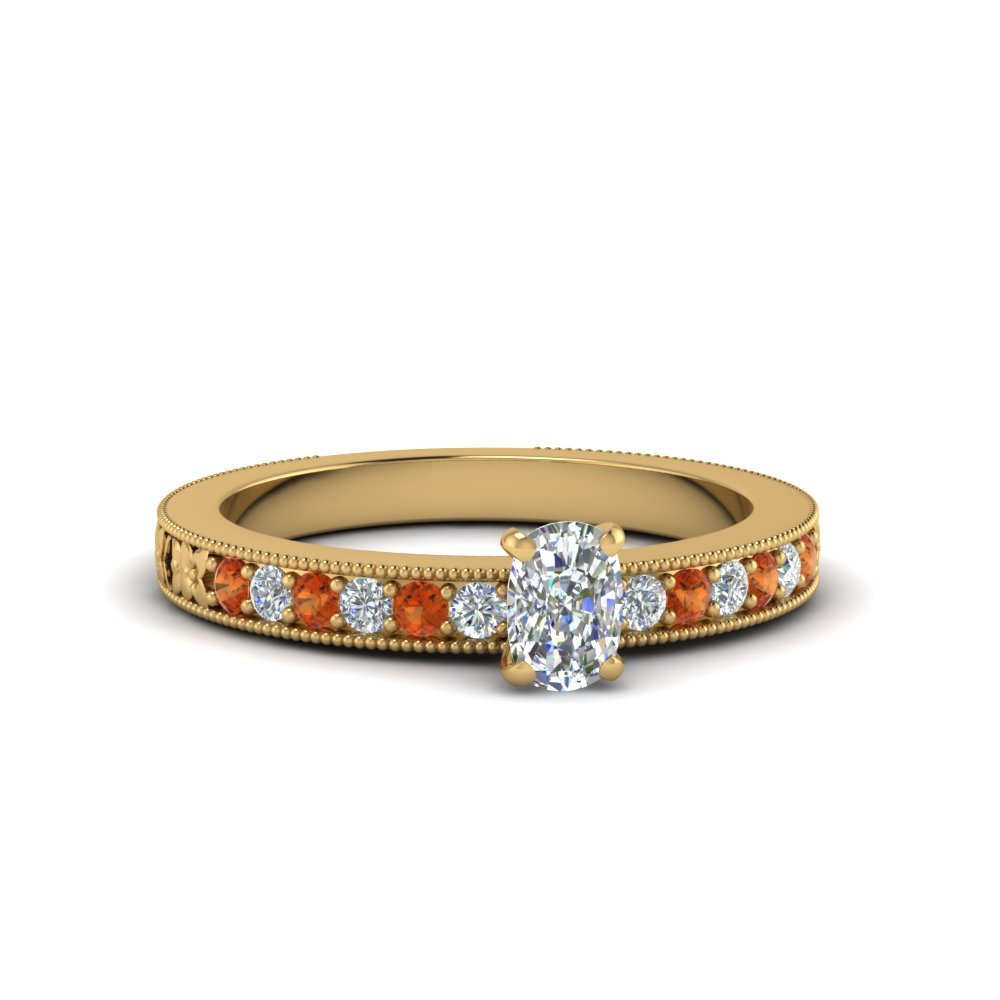 Orange Sapphire Yellow Gold Ring