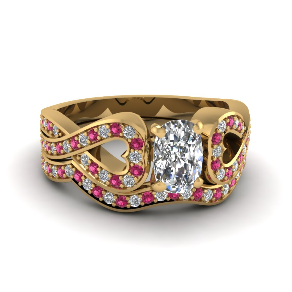 Entwined Cushion Diamond Wedding Ring Set With Pink Sapphire In 14K Yellow Gold