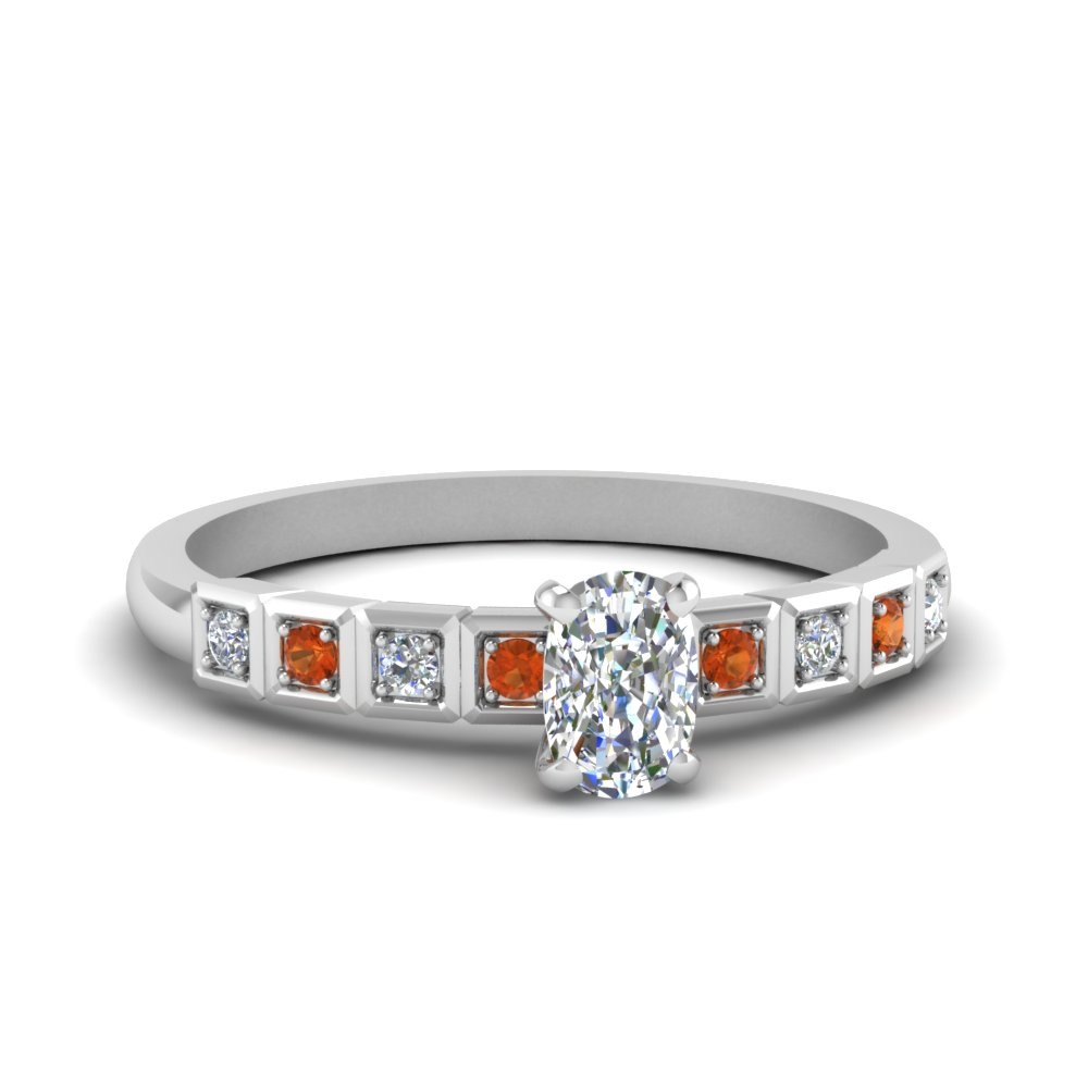 Cushion Cut Petite Block Design Diamond Engagement Ring With Orange Sapphire In 14K White Gold