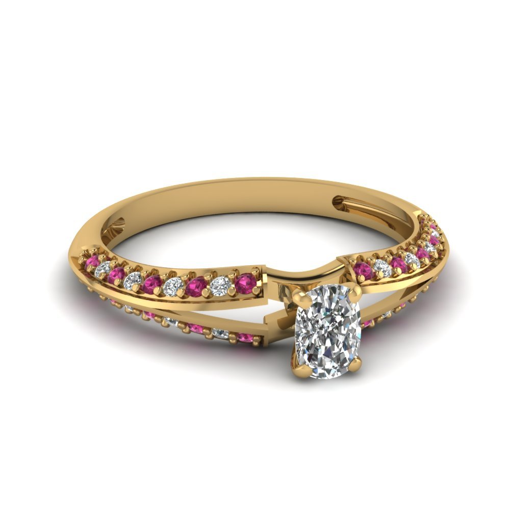 Cushion Cut Petite Split Shank Diamond Engagement Ring With Pink Sapphire In 14K Yellow Gold