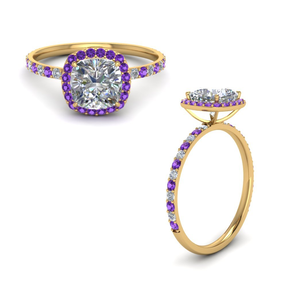 Purple Topaz Ring Halo Style