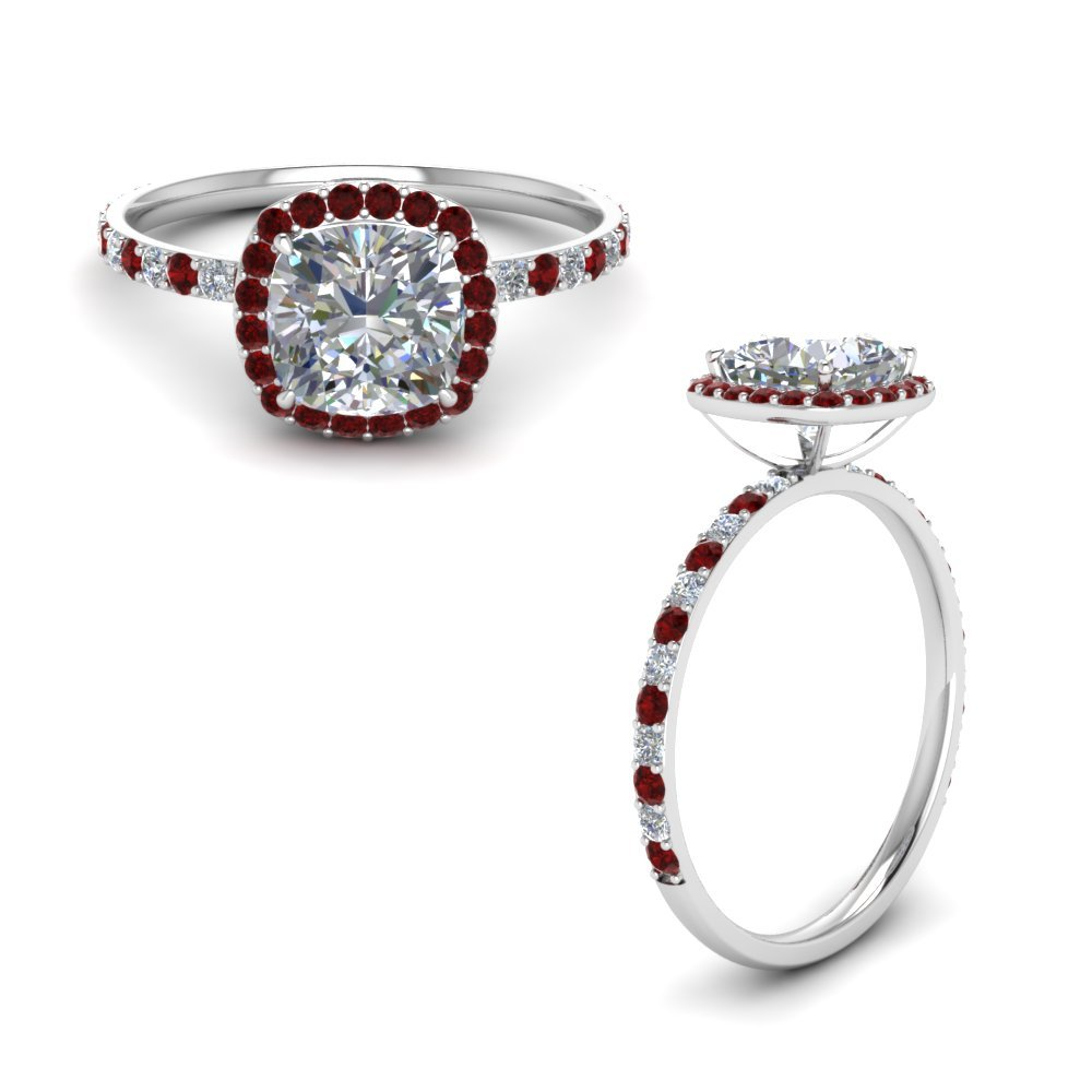 Halo Engagement Ring With Ruby